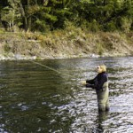 Jane showing fly fishing technique