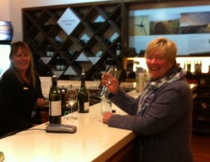 Cynthia Roberts samples Yealands wine