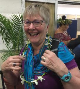 Cynthia receives her fresh lei at Rarotonga airport